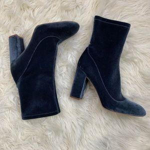 Sam Edelman Calexa Velvet Ankle Sock Booties Teal